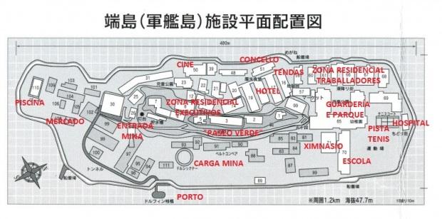 Mapa de Hashima nos 60