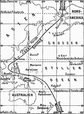 Liña internacional de cambio de fecha nunha publicación de 1888.