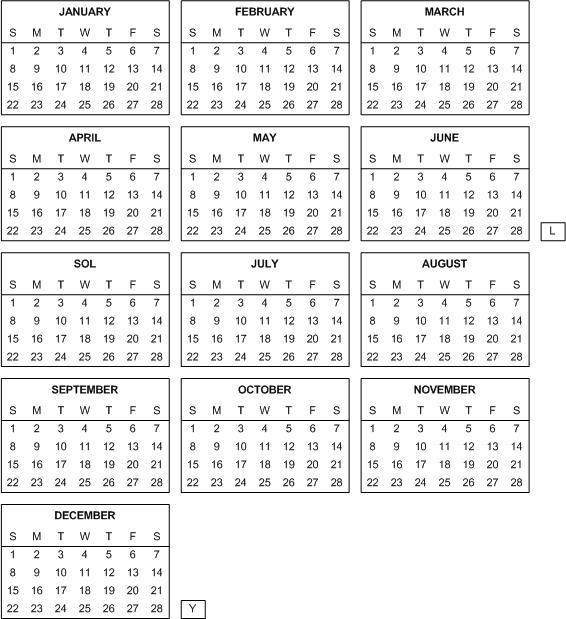 Ano de 13 meses, todos de 4 semanas exactas.