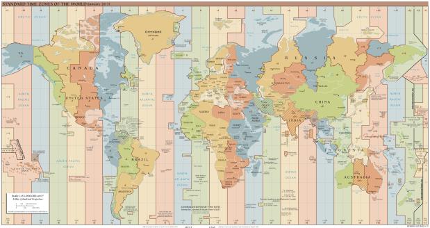 Fusos horarios e zonas horarias do planeta.
